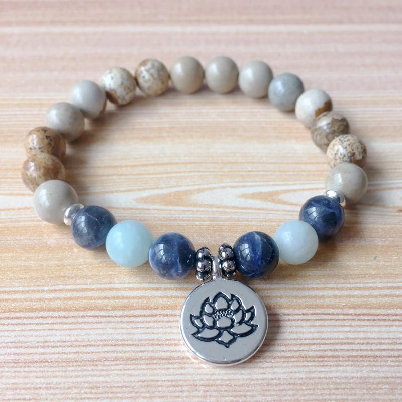 Picture Jasper, Sodalite & Aquamarine Mala Bracelet - Prana Heart: Everyday Mindfulness