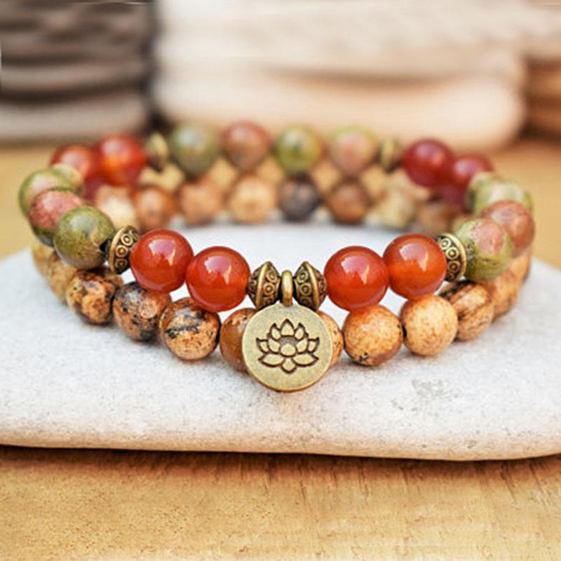 Positive Change Bracelet Set - Unakite, Picture Jasper, and Carnelian - Prana Heart: Everyday Mindfulness