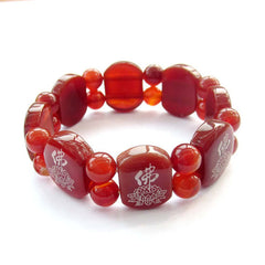 Red Agate Lotus Beads Bracelet