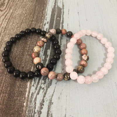 Rose Quartz, Rhodonite and Black Onyx - Confidence and Love Bracelet Set - Prana Heart: Everyday Mindfulness