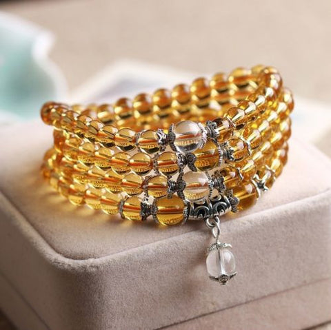 Buddhist Citrine Mala Bracelet/Necklace (108 Beads)