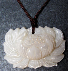 Natural Sea Shell Lotus Amulet