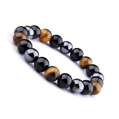 Triple Power Protection Bracelet: Hematite, Obsidian & Tiger's Eye - Prana Heart: Everyday Mindfulness