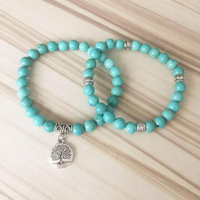 Turquoise Tree of Life Mala Bracelet Stack - Prana Heart: Everyday Mindfulness