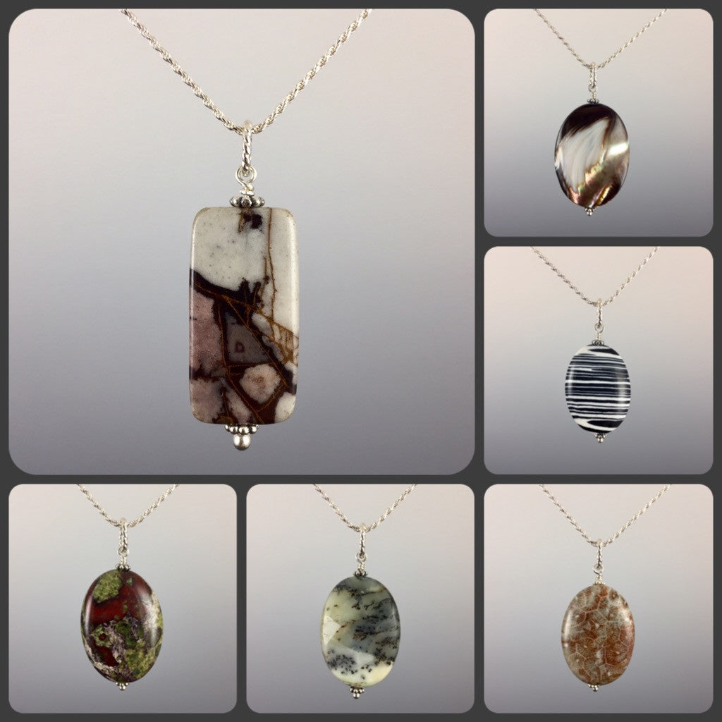 Simple Gemstone Pendants & Chains