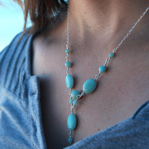 Amazonite and Sterling Silver Chain link necklace - Steven James Jewelry