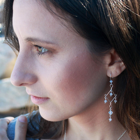 White Opal Fancy Chandelier Earrings