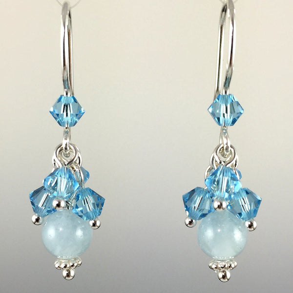 Aquamarine Gemstone, Swarovski Crystal & Sterling Silver Short Cluster Earrings - Steven James Jewelry