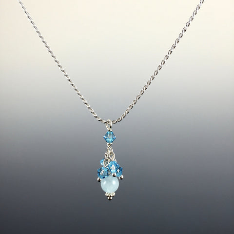 Aquamarine Gemstone, Swarovski Crystal & Sterling Silver Cluster Pendant Necklace - Steven James Jewelry
