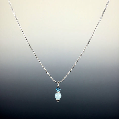 Aquamarine Gemstone, Swarovski Crystal & Sterling Silver Drop Pendant Necklace - Steven James Jewelry