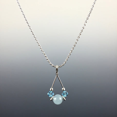 Aquamarine Gemstone, Swarovski Crystal & Sterling Silver Teardrop Pendant Necklace - Steven James Jewelry