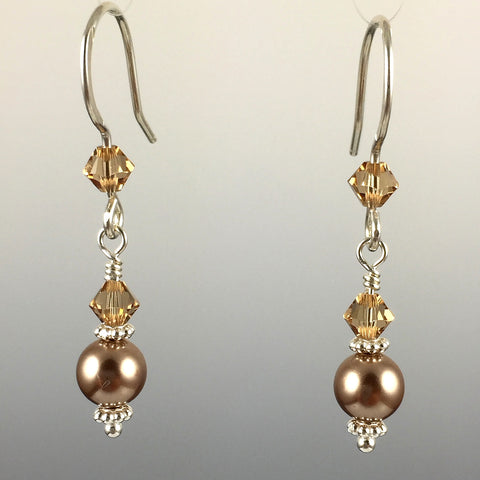 Swarovski Crystal & Crystal Pearl Simple Drop Earrings - 6mm - Steven James Jewelry