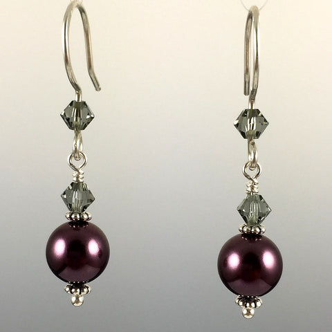 Burgundy Swarovski Crystal Pearls & Swarovski Crystal Simple Drop Earrings - 8mm - Steven James Jewelry