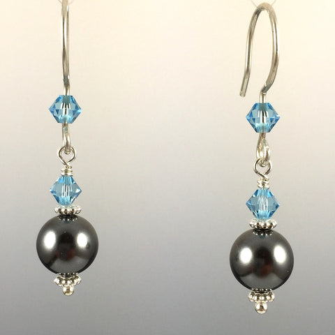 Dark Grey Swarovski Crystal Pearls and Aquamarine Swarovski Crystal & Sterling Silver Simple Drop Earrings - 8mm Pearl - Steven James Jewelry - Handcrafted in CT USA