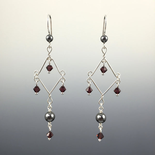 Swarovski Crystal & Crystal Pearl Fancy Chandelier Earrings - Steven James Jewelry