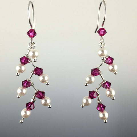 Custom Swarovski Crystal & Sterling Silver Berry Branch Earrings - Steven James Jewelry