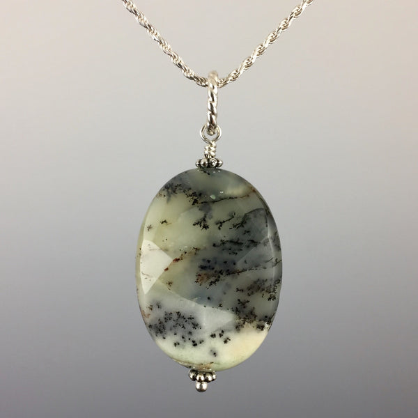 Translucent Lemon Lime Green and Dark Gray - Unique Faceted Oval Moss Agate Gemstone - Sterling Silver Components and Rope Chain - Simple Minimalist Pendant - Handcrafted in CT USA - Steven James Jewelry