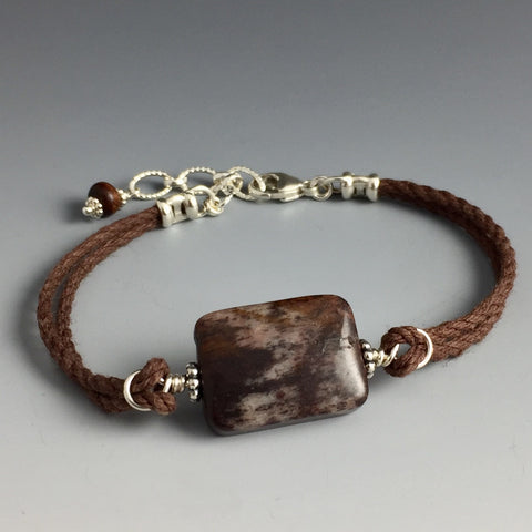 Outback Jasper, Sterling Silver & Hemp Bracelet - Steven James Jewelry