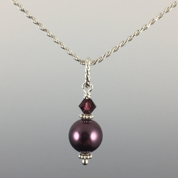 Swarovski Crystal Pearl 8mm, Swarovski Crystal & Sterling Silver Drop Pendant - Steven James Jewelry