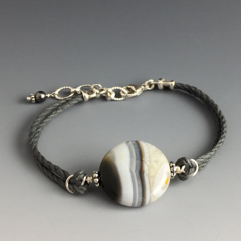 Natural White, Gray and Yellow Colored - Round Shaped - Striped Agate Gemstone, Sterling Silver & Grey Hemp Adjustable Bracelet with Swarovski Crystal Pearl Dangle - Handcrafted in CT USA - Steven James Jewelry