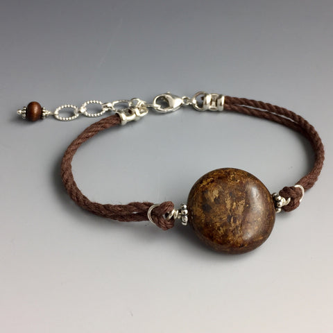 Natural Brown, Bronze and Gold Colored - Round Shaped - Bronzite Gemstone, Sterling Silver & Brown Hemp Adjustable Bracelet #1 with Wood Dangle - Handcrafted in CT USA - Steven James Jewelry