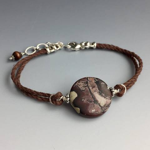 Leopardskin Jasper, Sterling Silver & Hemp Bracelet - Steven James Jewelry