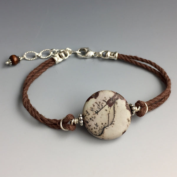 Natural Brown and Cream Colored - Round Shaped - Leopardskin Jasper Gemstone, Sterling Silver & Brown Hemp Adjustable Bracelet #2 with Wood Dangle - Handcrafted in CT USA - Steven James Jewelry