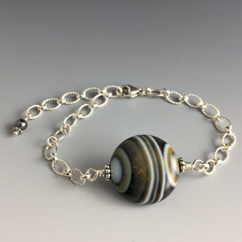 Grey Blue White and Yellow Striped Agate & Sterling Silver Bracelet - with patterned sterling silver chain and adjustable clasp with Swarovski Crystal Pearl Dangle - Handcrafted in CT USA - Steven James Jewelry