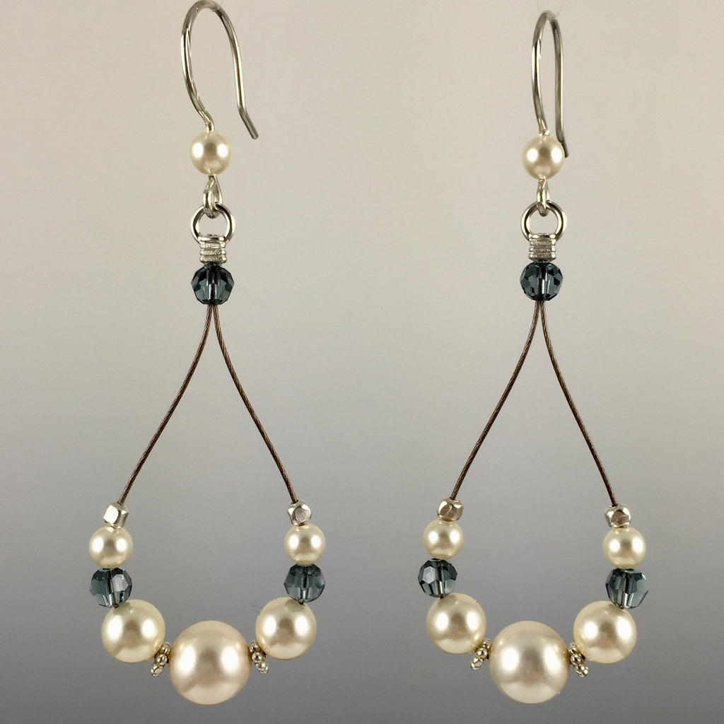 Handcrafted Cream Colored Swarovski Crystal Pearls Indian Sapphire Crystals Teardrop Earrings With Sterling Silver