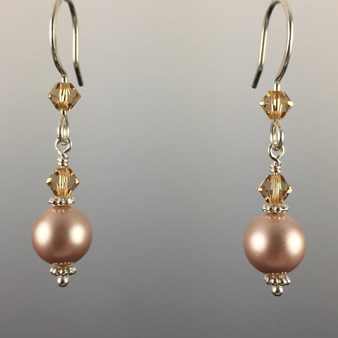 Powder Almond Swarovski Crystal Pearls & Swarovski Crystal Simple Drop Earrings - 8mm - Steven James Jewelry
