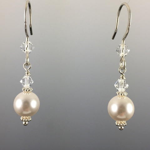 White Swarovski Crystal Pearls & Swarovski Crystal Simple Drop Earrings - 8mm - Steven James Jewelry