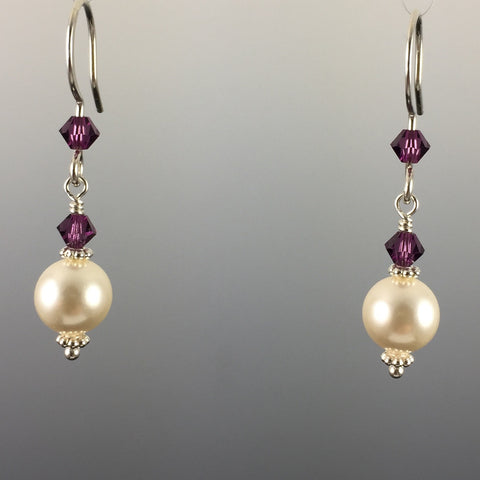Cream Swarovski Crystal Pearls and Amethyst Swarovski Crystal & Sterling Silver Simple Drop Earrings - 8mm Pearl - Steven James Jewelry - CT - Handcrafted