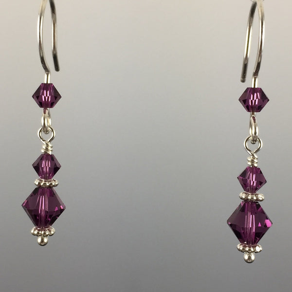 Amethyst Swarovski Crystal and Sterling Silver Simple Drop Earrings - Steven James Jewelry - Handcrafted in CT USA