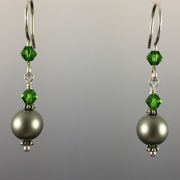 Powder Green Swarovski Crystal Pearls & Swarovski Crystal Simple Drop Earrings - 8mm - Steven James Jewelry