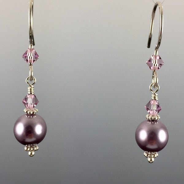 Mauve Swarovski Crystal Pearls & Swarovski Crystal Simple Drop Earrings - 8mm - Steven James Jewelry