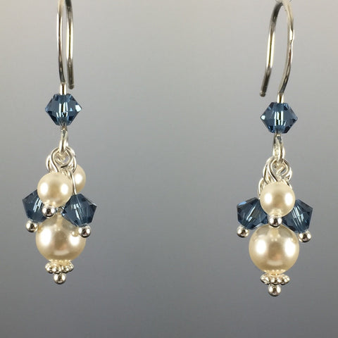 Swarovski Crystal & Crystal Pearl Short Cluster Earrings - Steven James Jewelry