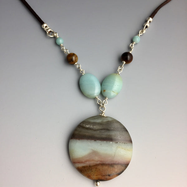 Amazonite, Tigereye & Sterling Silver Chain Link Necklace - Steven James Jewelry