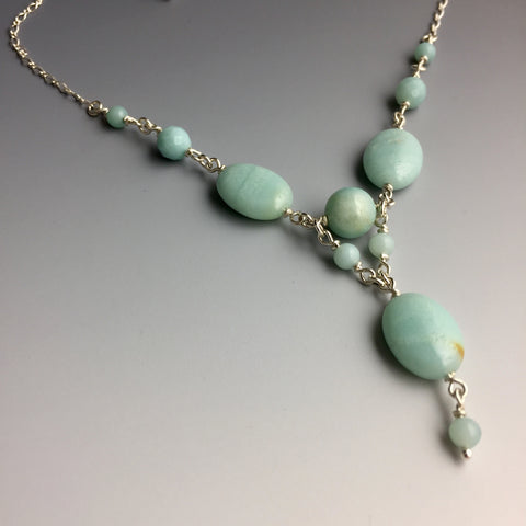 Blue Amazonite Gemstones & Sterling Silver Chain Link Necklace - Adjustable lobster claw clasp and dangle - Handcrafted in CT USA - Steven James Jewelry