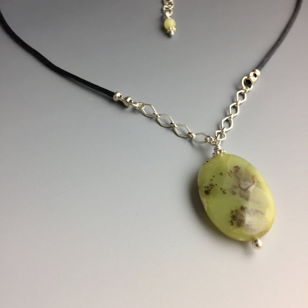 Moss Agate & Sterling Silver Necklace - Steven James Jewelry