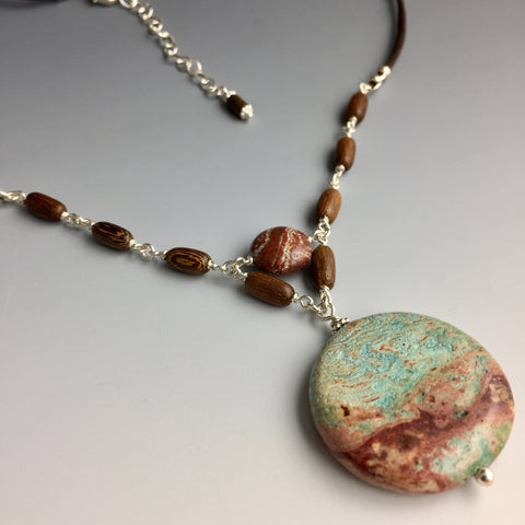 Paisley Jasper, Wood & Sterling Silver Chain Link Necklace - Steven James Jewelry