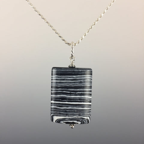 Zebra Jasper (pillow) & Sterling Silver Pendant - Steven James Jewelry