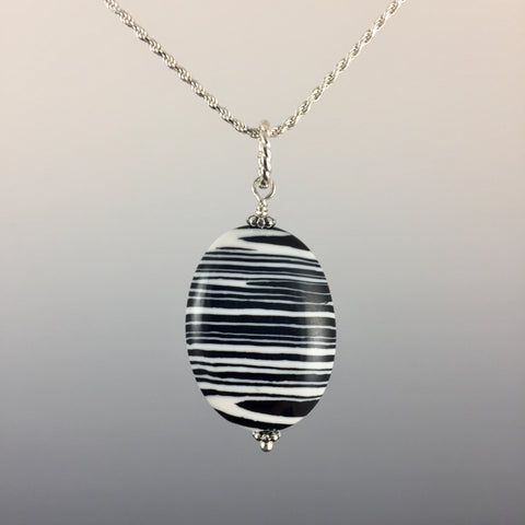 Zebra Jasper (oval) & Sterling Silver Pendant - Steven James Jewelry