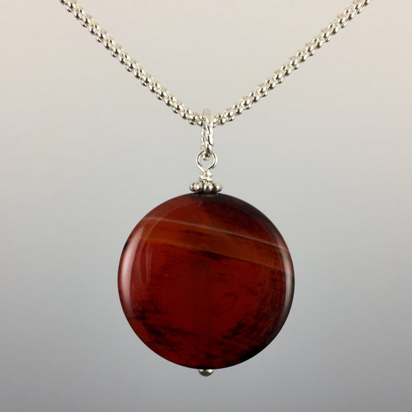 Red Agate & Sterling Silver Pendant - Steven James Jewelry