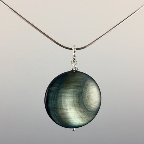 Mother of Pearl (grey/blue) & Sterling Silver Pendant - Steven James Jewelry
