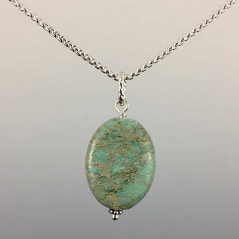 Aqua Terra Jasper (oval) & Sterling Silver Pendant - Steven James Jewelry