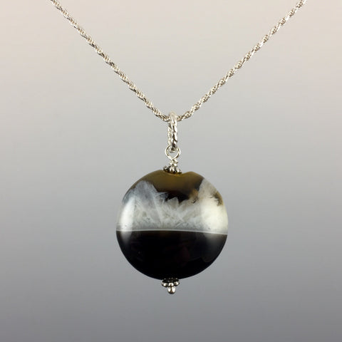 Grey Agate & Sterling Silver Pendant - Steven James Jewelry