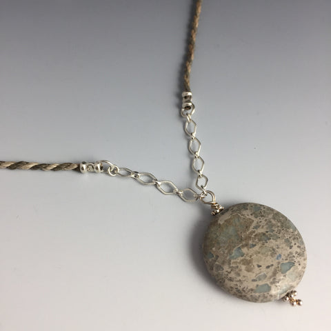 Unique Aqua Terra Jasper Gemstone & Sterling Silver Marquis Chain on a Hand Twisted Multi color Hemp Cord - Adjustable Necklace - Steven James Jewelry - Handcrafted in CT USA