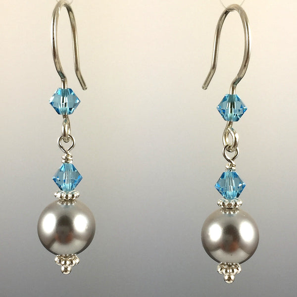 Light Grey Swarovski Crystal Pearls and Aquamarine Swarovski Crystal & Sterling Silver Simple Drop Earrings - 8mm Pearl - Steven James Jewelry - Handcrafted in CT USA