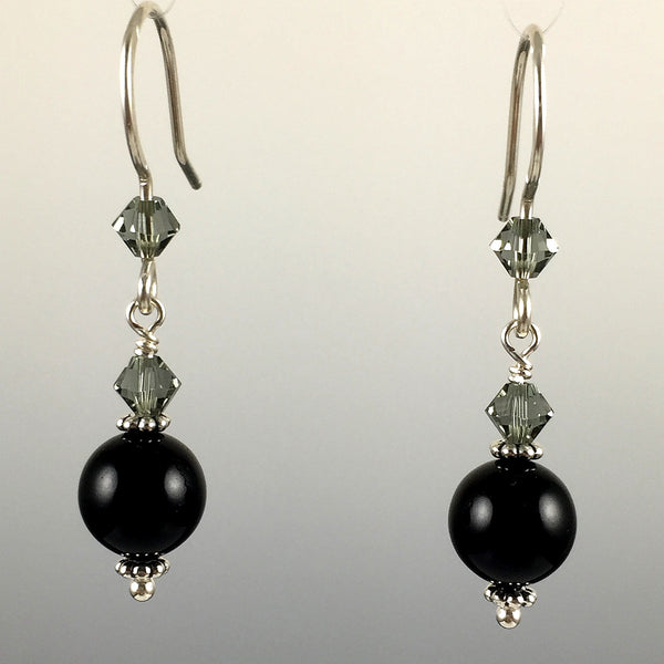 Mystic Black Swarovski Crystal Pearls & Swarovski Crystal Simple Drop Earrings - 8mm - Steven James Jewelry