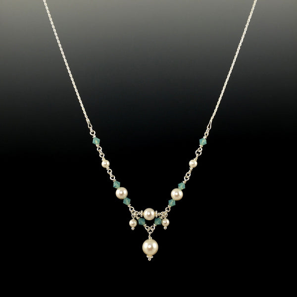 Swarovski Crystal & Sterling Silver Chain Link Necklace with Center Drop, Dangles & Rope Chain - Steven James Jewelry